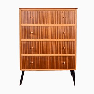 Tigerwood and Beech Chest Of Drawers, 1960s