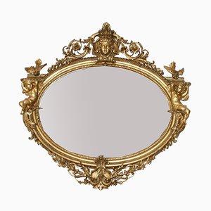 Großer antiker französischer Spiegel mit vergoldetem Holzrahmen