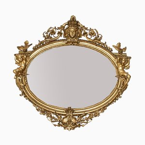 Large Antique French Giltwood Mirror