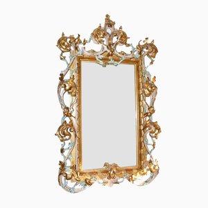 Großer antiker venezianischer Spiegel mit vergoldetem Holzrahmen