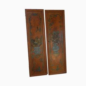 Puertas italianas antiguas pintadas. Juego de 2