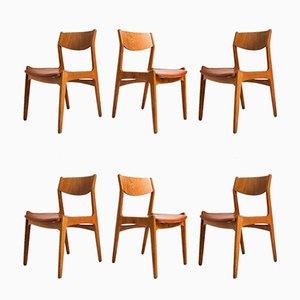 Sedie da pranzo Mid-Century in quercia e pelle, Danimarca, anni '50, set di 6