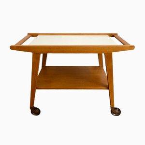 Servierwagen aus Holz & Keramik, 1950er