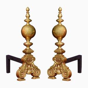 Antique Dutch Brass Firedogs, Set of 2