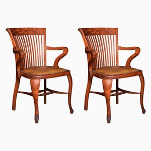 Antique Oak Desk Chairs, Set of 2