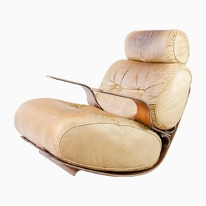 Mid-Century Leather and Rosewood Lounge Chair from Laauser