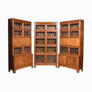 Antike sektionale Bücherregale aus Eiche, 3er Set