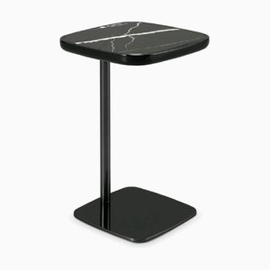 Nero Marquina Marble & Lacquered Metal Side Table by Pradi for Pradi Handicraft