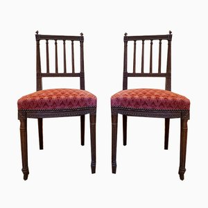 19th Century Louis XVI Style Wooden Dining Chairs, Set of 2