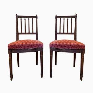 Louis XVI Esszimmerstühle aus Holz, 19. Jh., 2er Set