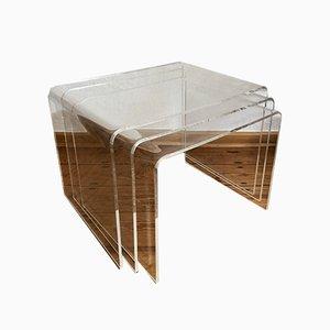 Tables d'Appoint en Acrylique, années 70, Set de 4
