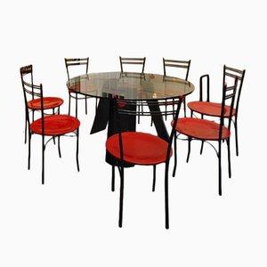 Conjunto de mesa y sillas de comedor vintage, años 80