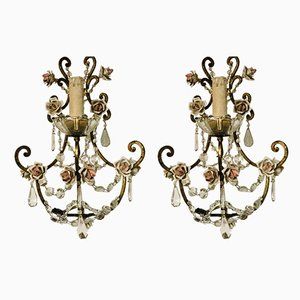 Crystal Beaded Porcelain Rose Sconces, 1950s, Set of 2