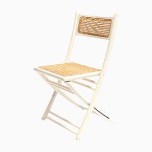 Vintage Esszimmerstuhl aus Holz mit Sitzgeflecht