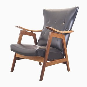 Mid-Century Teak and Black Leatherette Lounge Chair, 1960s