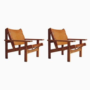 Cognac Leather and Oak Lounge Chairs by Kurt Østervig for K.P. Jørgensen Møbler, 1960s, Set of 2