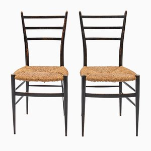 Mid-Century Lacquered Dining Chairs, Set of 2