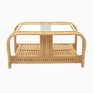 Vintage French Bamboo Coffee Table