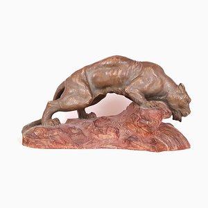 Art Déco Panther Skulptur von A Fugottie, 1930er