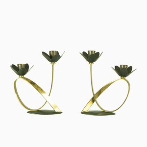 Mid-Century Metal & Brass Candleholders, Set of 2