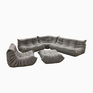 Grey Togo Living Room Set by Michel Ducaroy for Ligne Roset, 1979, Set of 5