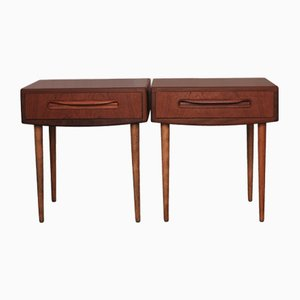 Teak Single-Drawer Bedside Cabinets on Tapering Legs from G-Plan, 1960s, Set of 2