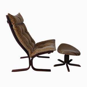 Bentwood Siesta Lounge Chair and Footstool Set by Ingmar Relling for Westnofa, 1960s