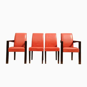 Red Leather Dining Chairs by Chafik Gasmi for Hugues Chevalier, 1990s, Set of 4