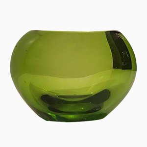 Vaso Heart verde in vetro di Per Lütken per Holmegaard, anni '50