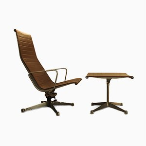 Model EA124 Swivel Armchair & Model EA125 Ottoman Set by Charles & Ray Eames for Herman Miller, 1950s