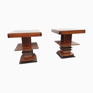 Art Deco Walnut Side Tables, 1920s, Set of 2
