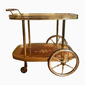 Italian Golden Serving Cart Trolley, 1950s