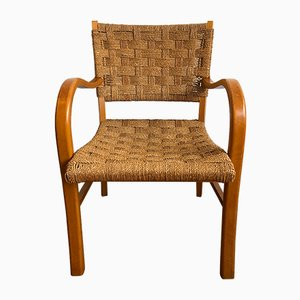 Beistellstuhl mit Sitzgeflecht, 1960er