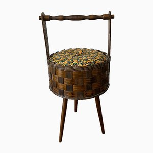 Rattan Braided and Wood Sewing Basket, 1950s