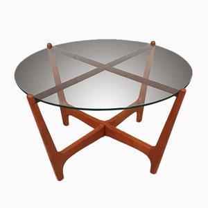 Table Basse en Verre et en Teck, années 60