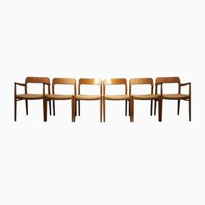 Chaises de Salle à Manger Modèle 56 et 75 Mid-Century en Chêne par Niels Otto Møller pour J. L. Møllers, Danemark, années 60, Set de 6