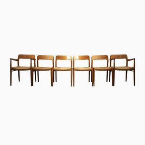 Mid-Century Danish Oak Model 56 and 75 Dining Chairs by Niels Otto Møller for J.L. Møllers, 1960s, Set of 6