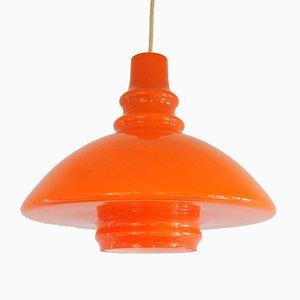 Orangefarbene deutsche Vintage Hängelampe aus Glas