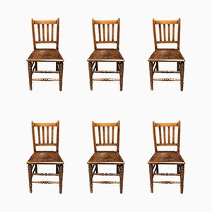Antique French Farmhouse Kitchen Chairs, Set of 6