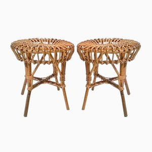 Italian Rattan Stools, 1950s, Set of 2