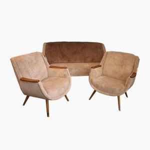 Canapé et Chaises d'Appoint, années 50, Set de 3