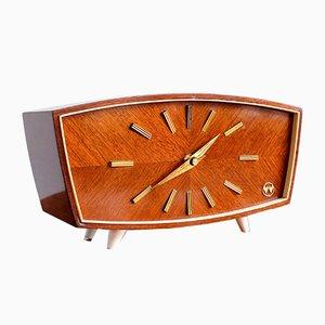 Reloj de mesa alemán de madera de Weimar, años 60