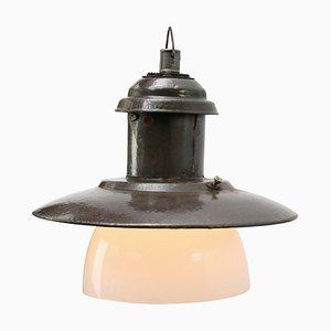 Vintage Industrial Brown Enamel Opaline Glass Pendant Lamp, 1950s
