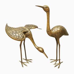 Grande Sculpture d'Oiseaux Grue Vintage en Laiton, années 60, Set de 2