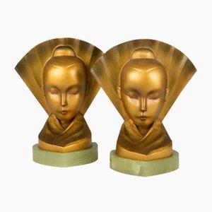 Österreichische Art Déco Buchstützen aus Bronze von Aubór, 1920er, 2er Set