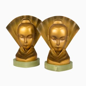 Serre-Livres Art Déco en Bronze par Aubór, Autriche, années 20, Set de 2