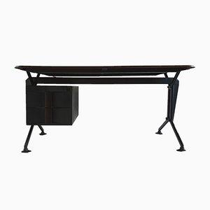 Italienischer Modell Arco Schreibtisch in Schwarz & Grau von BBPR für Olivetti Synthesis, 1960er