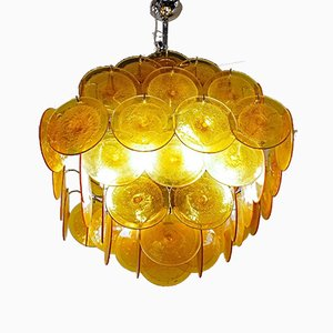 Amber Murano Disc Glass Chandelier by Carlo Nason from Vistosi, 1980s