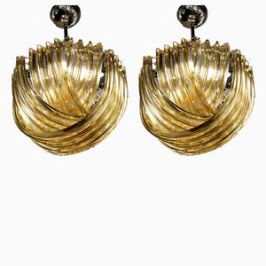 Small Curvati Chandeliers by Carlo Nason, 1970s, Set of 2