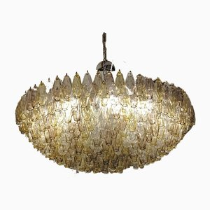 Polyhedra Amethyst and Amber Murano Glass Chandelier by Carlo Scarpa for Venini, 1980s
